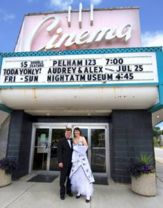 Alex and Audrey in front of the Cinema, July 2009